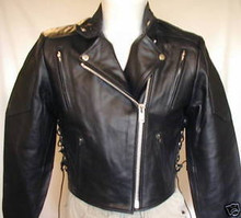 A1 Black Premium Leather Womans Shorty Vented Motorcycle biker Jacket