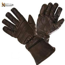 Motorcycle Gauntlet Retro Brown Leather Insulated Gloves