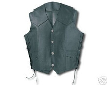 MENS TOP GRAIN LEATHER MOTORCYCLE BIKER VEST BLACK