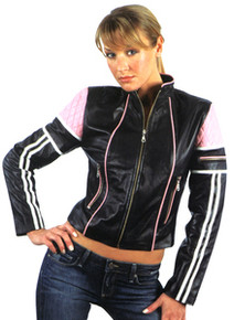 LAMBSKIN BLACK & PINK LADIES LEATHER MOTORCYCLE STYLE JACKET CLOSEOUT
