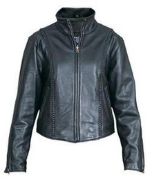 Braided Womens Soft Naked Leather Motorcycle Biker Jacket CLOSEOUT PRICED