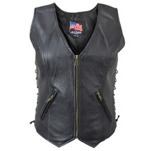 WOMEN'S ZIP FRONT BLACK LEATHER MOTORCYCLE VEST