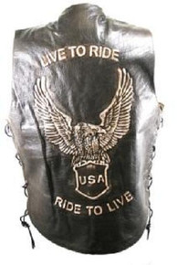 Brown Live to Ride Leather Motorcycle biker Vest