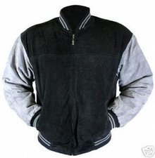 Suede Black & Gray Leather Baseball Jacket
