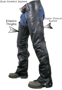Men's Premium Black Cowhide Leather Motorcycle Chaps Retail $149.95