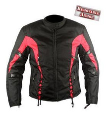 Womens Black Red 600D Textile Armored Motorcycle Jacket CLOSEOUT