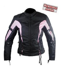 Womens Pink & Black Textile Armored Motorcycle Jacket