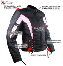 Womens Black Pink Textile Armored Motorcycle Jacket CLOSEOUT