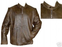BROWN DISTRESSED RETRO BEAUTIFUL LEATHER MOTORCYCLE JACKET, COLLARLESS