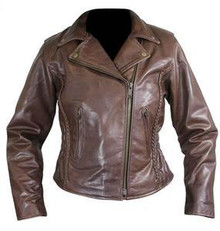 Women's Brown Leather Braided  Motorcycle Jacket