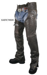 Brown Retro Premium Leather Motorcycle Biker Comfort Chaps