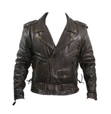 Brown Retro Distressed Classic Leather Motorcycle Jacket