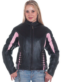 Ladies / Womens Pink and Black Vented Leather Motorcycle Biker Jacket