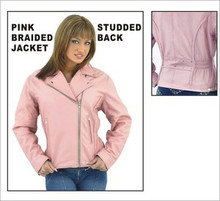 Ladie's / Womens Pink Top Grade Leather Motorcycle Jacket