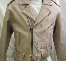 Beige or light Brown Top Grade Cowhide Leather Classic Motorcycle Biker Jacket