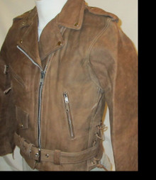 A Buff Brown Womens Premium Leather Motorcycle biker Jacket $229