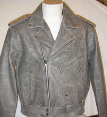 Distressed Brown & Gray Leather Motorcycle Biker Jacket 2 Gun Pockets