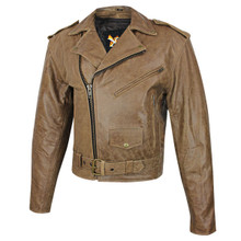 Brown / Distressed Classic Xelement Leather Motorcycle Biker Jacket w Gun Pocket