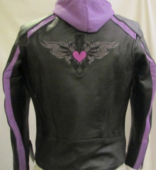 Black & Purple Embroidered Leather Motorcycle Biker Jacket Zip out Hoodie