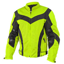 Men's Neon Green Mesh Armored Motorcycle Jacket with Gun Pocket by Xelement