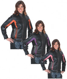 Embroidered Laced Vented Women's Leather Motorcycle Jacket Black & Purple, Pink, or Red