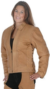 Ladies Brown Hand Laced Jacket w/ Zip out liner
