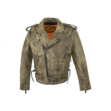 Brown Distressed Leather Motorcycle Jacket With Side Laces & Gun Pocket