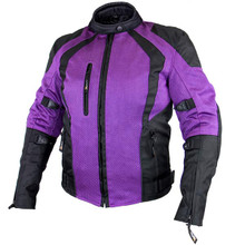 Women's Cyclone Black/Purple Mesh Tri-Tex Armored Motorcycle Jacket Xelement