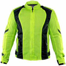 Women's Xelement Impulse Black/Neon Green Mesh Tri-Tex Armored Motorcycle Jacket