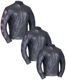Embroidered Stars Premium Lightweight women's Vented Leather Biker Jacket