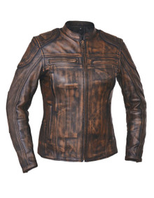 Distressed Nevada Brown Premium Leather Motorcycle biker Jacket