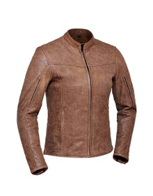 Brown Arizona Women's Premium Leather Biker Motorcycle Jacket Reg $239