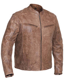 Brown Arizona Mens Vented Leather Motorcycle Biker Jacket with Gun Pocket