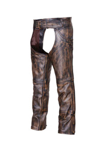 Brown Mens Leather Motorcycle Biker Chaps with Jeans Pocket
