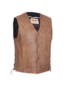 Brown 4 Pocket Carry Vest in Premium Buffalo Leather