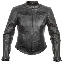 Black Embroidered Womens Xelement Leather Motorcycle Biker Jacket BFT208775