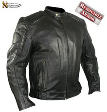 Executioner Armored Black Racer Motorcycle Biker Leather Jacket