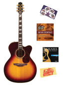 Takamine EF250TK Toby Keith Signature Jumbo Cutaway Acoustic-Electric Guitar Bundle with Instructional DVD, Strings, Pick Card, and Polishing Cloth - Sunburst