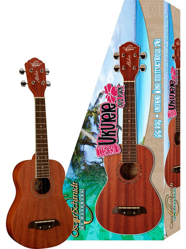 Oscar Schmidt OU2 Concert Ukulele Package - Natural Full View