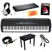 Korg SP280BK 88-Key Digital Piano with Speaker Bundle with Furniture Style Bench, Dust Cover, 3.5mm Cable, Headphones, Instrument Cable, Instructional Book, and Polishing Cloth - Black Full View