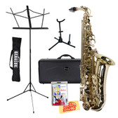 Finezza Alto Saxophone with Hard Case, Saxophone Stand, Music Stand, Care Kit, and Polishing Cloth - Gold View 5