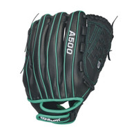 "Wilson A500 Youth Black/Green 12.5"" Glove"