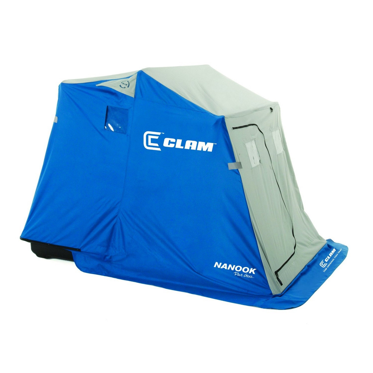 Clam fish trap nanook 2 person portable ice shelter for Ice fishing battery box