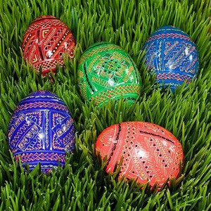 Set of 5 Wooden Easter Eggs, Ukrainian Wooden Easter Eggs Pysanky