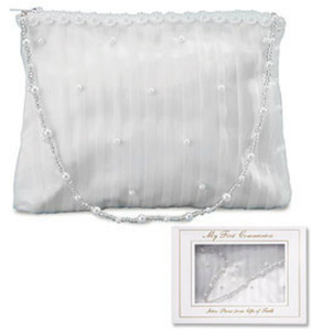 "Girls First Communion Gift 5"" White Satin Stripe Pearl Tote Purse Keepsake Handbag with Gift Box"