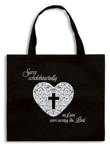 "Womens 14"" Black Nylon Serve Wholeheartedly Cross in Heart Design Purse Tote Bag"