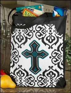 """Cross with Gothic Design 16"""" Gusset Bottom Grocery Recycled Nylon Bag Tote Purse"""
