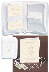 First Communion Gift Set Mass Book Rosary Scapular and Pin in Zipper Keepsake Case