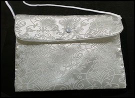 "Catholic Girls First Holy Communion Gift White Satin Damask Pattern 7"" Button Snap Close Keepsake Purse Tote Handbag"