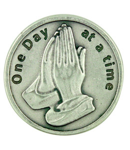"""One Day at a Time"" AA Alcoholics Anonymous Pocket Token Coin with Praying Hands"